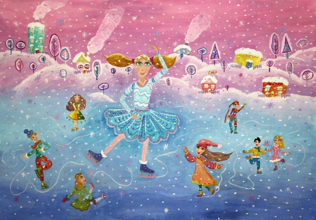 """Kresba Ariny """"Zimní pohádka"""", se kterou získala v prosinci 2020 absolutní vítězství-Velkou cenu (bez rozdílu věku a kategorií) v městském festivalu """"Zima zpívá, zvučí..."""", které se zúčastnilo mnoho dětí z devíti Dětských škol umění a z Dětské výtvarné školy v Doněcku"""