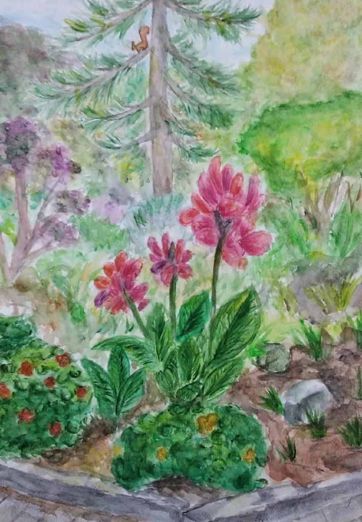 """Plenér výtvarných oddělení Dětských škol umění a Dětské výtvarné školy v Doněcku, listopad 2020  Kresba Ariny """"Podzimní květy"""""""