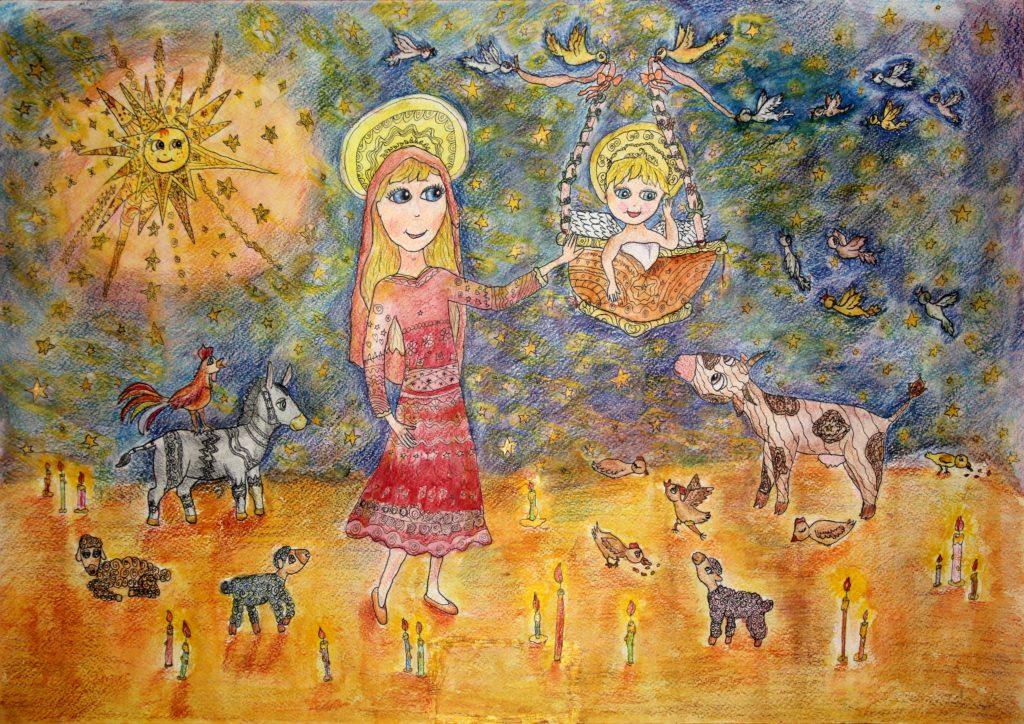 Kresba Ariny do soutěže Betlémská hvězda, Izrael, prosinec 2020